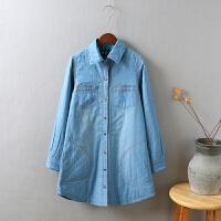 G5女冬新加厚夹棉牛仔衬衫外套 保暖长袖中长款百搭打底衫0.4