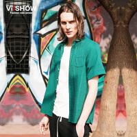 viishow夏装新款短袖衬衫 欧美时尚纯色短袖衬衫男 纯棉衬衣