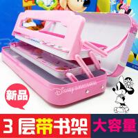 迪士尼文具盒 男女儿童小学生笔盒铅笔盒多功能三层铁笔盒带书架