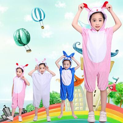 演出服狼表演服装万圣节儿童表演服装守株待兔小白粉兔 兔子演出服狼表演服装