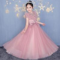 儿童礼服秋冬新款红色礼服圣诞节演出服女童模特走秀主持弹钢琴