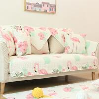 北欧沙发垫子纯棉组合防滑皮四季通用布艺沙发套罩巾全盖定做