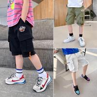 【2件2折】左西男童裤子夏装2021新款儿童中大童纯棉工装休闲裤夏季短裤