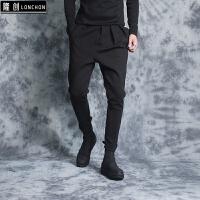 暗黑风加绒卫裤男 冬季新款小脚哈伦裤子 黑色休闲裤修身厚款 黑色