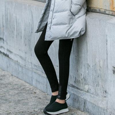 Amii[极简主义]动感百搭 印花加绒打底裤 2017冬装新弹力修身保暖_黑色,155/64A/S预售 1月3日 发货