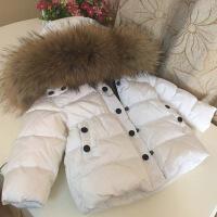冬装婴幼儿男童女童宝宝加厚中长款大毛领儿童羽绒服童装反季