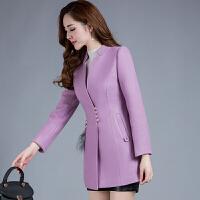 秋冬装新款韩版修身中长款女士毛呢外套中年收腰妮子呢子大衣