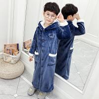儿童浴袍珊瑚绒睡袍秋冬季法兰绒小孩男孩男童睡衣
