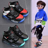 男童鞋秋冬加绒鞋子儿童时中大童篮球鞋韩版男童高帮鞋