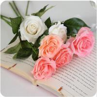 客厅假花仿真摆件餐桌花装饰花绢花手感保湿仿真玫瑰花