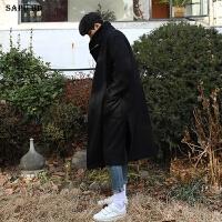 2017新品冬季羊绒大衣男长款过膝韩版毛呢大衣男风衣宽松男士外套 黑色 小码