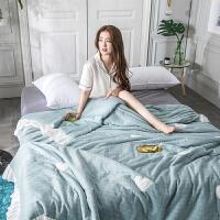 家纺公主风爱心竹纤维双层纱夏被 裸睡亲肤全棉刺绣夏季被子空调被子 200X230cm
