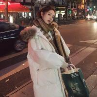 2018秋季新款韩国中长款棉衣女宽松chic超大毛领面包服过膝大口袋羽绒外套