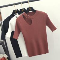 韩版春夏新款女装圆领修身针织衫性感镂空弹力短袖T恤打底衫