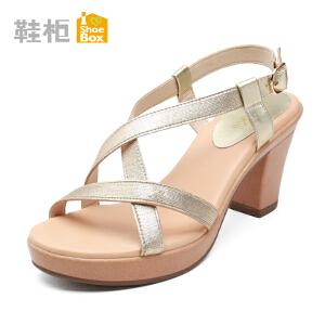 达芙妮旗下shoebox鞋柜新款粗跟高跟凉鞋 厚底防水台草编女鞋