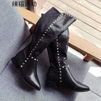 长靴女秋冬季新款韩版低跟百搭长筒显瘦弹力靴加绒铆钉高筒靴 黑色