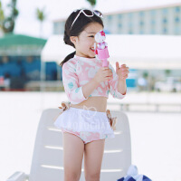 儿童泳衣分体裙式女孩女童长袖防晒学生泳衣
