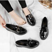 小皮鞋女英伦风ins同款款韩版时尚百搭学生黑色单鞋一脚蹬女鞋