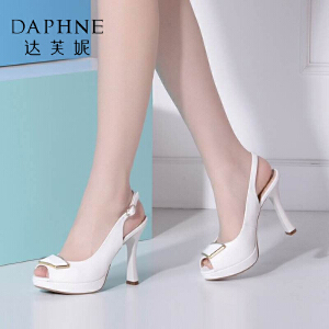 Daphne/达芙妮夏季女鞋时尚精致PU高跟鱼嘴女凉鞋