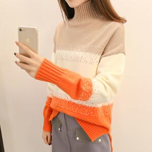 高领毛衣女冬季套头宽松2018新款拼接点点加厚保暖百搭针织打底衫