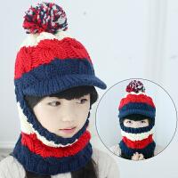 冬季儿童帽子秋冬女童毛线帽宝宝帽小孩套头帽围脖手工保暖亲子帽连体帽