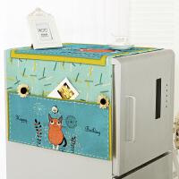 棉麻韩式卡通冰箱罩单开门防尘罩布艺双开门洗衣机盖布家用盖巾