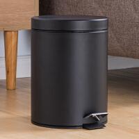 欧润哲 8升家用厨房砂光不锈钢脚踏式垃圾桶 时尚卫生间静音缓降款清洁桶