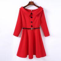 18春新款修身连衣裙红色名媛风个性约礼服