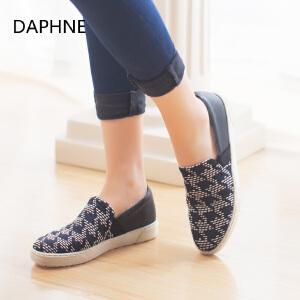 Daphne/达芙妮  平底圆头印花套脚懒人布单鞋