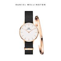 Danielwellington丹尼尔惠灵顿DW女表28mm黑色织纹手表dw手镯套装