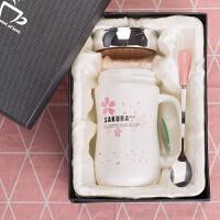 创意韩版陶瓷杯子马克杯带盖勺简约咖啡牛奶杯女学生情侣家用水杯 (礼盒装)