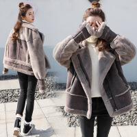 机车服女冬羊羔毛加厚鹿皮绒皮毛一体短款外套新款韩国夹克潮 如图色 偏大