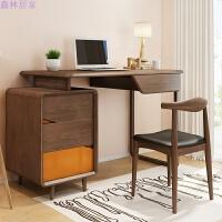 家用电脑桌美式书台书房家具套装组合简约现代书桌书柜一体 书桌 椅子 否
