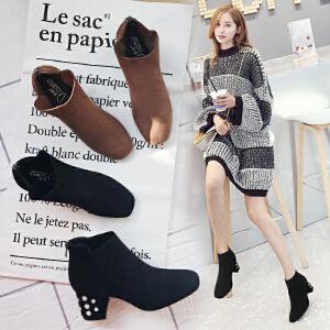 【满200减100】【毅雅】时尚新款粗高跟舒适短靴子女鞋子 YM7WB7977