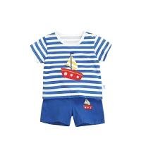 男女宝宝短袖套装婴儿夏装纯棉卡通T恤短裤两件套