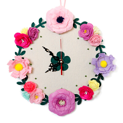 繁复之美钟表 挂钟客厅不织布艺手工diy 制作 创意自制材料包