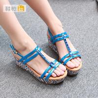 达芙妮旗下shoebox鞋柜夏季新款高跟露趾凉鞋 防水台松糕底坡跟鞋