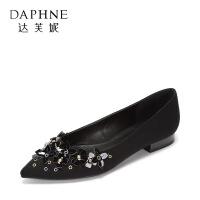 Daphne/达芙妮秋款时尚性感花朵点缀 尖头浅口低跟单鞋女