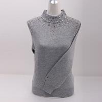 秋冬新款羊绒衫大码女装女士镶钻山羊绒毛衣套头半高领打底针织衫
