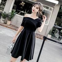 小晚礼服裙女2018新款宴会聚会生日派对连衣裙黑色短款一字肩