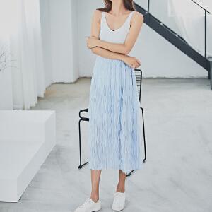 RANJU 然聚2018女装夏季新品新款韩版百褶半身裙吧百搭中长裙