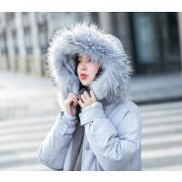 大毛领羽绒服女中长款韩国2017冬装新款韩版宽松收腰加厚过膝外套