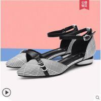包头凉鞋女户外新品时尚女鞋大码四季鞋中空百搭小跟鞋