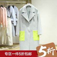 韩版百搭贴布口袋长袖呢大衣冬装新款翻领中长款毛呢外套