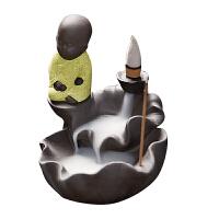 茶宠倒流香炉创意家用紫砂坐莲小和尚陶瓷香薰炉香道茶道办公摆件