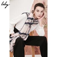 Lily2018秋新款女装柔软羊毛桑蚕丝混纺粉色格纹围巾118110AZ436