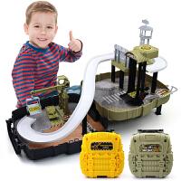 轨道滑行车军事工程小汽车男孩玩具3-6岁儿童新款背包停车场模型