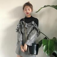春秋女装韩版拼接格子荷叶边假两件长袖衬衫休闲学生打底衬衣上衣