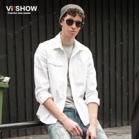 VIISHOW秋装新款男士长袖衬衫纯棉衬衣男青年衣服纯色上衣潮