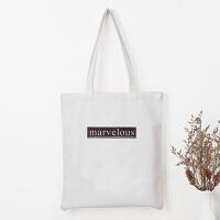帆布包女单肩日系学生简约斜跨韩版大容量装书手提袋子可logo